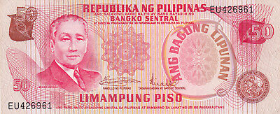50 Piso Aunc Banknote From Philippines 1970!pick-156!