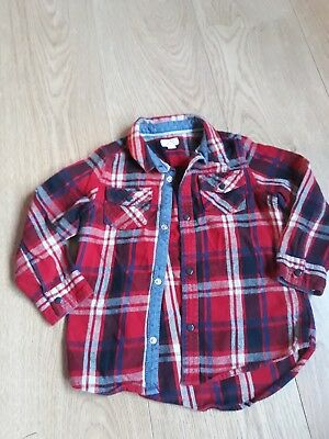 Boys River Island Mini Red Check Shirt Age 18-24 Months Vgc