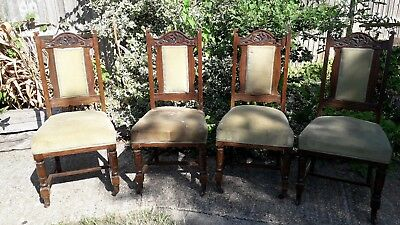 Set of 4 Victorian chairs - solid mahogany - upholstered seats