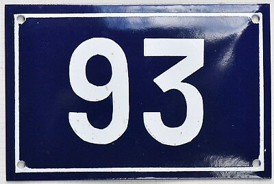 Old blue French house number 93 door gate plate plaque enamel metal sign steel