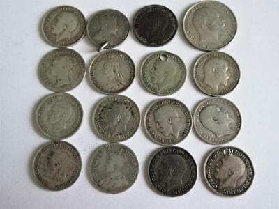 Job Lot of mostly PRE 1920 UK SILVER 3d COINS x16 - 23.1g - Scrap or Collect!