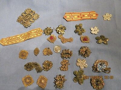 Antique Vintage Metallic Appliqes  Some Hm  Silk Ribbon Pcs Lace Sequine