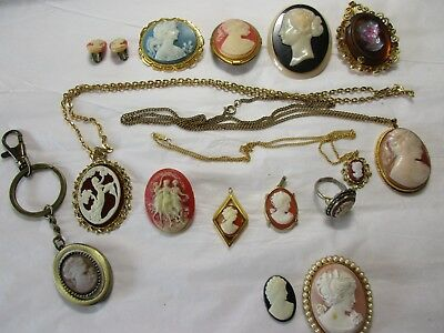 job lot of cameo styled jewellery items, some = vintage, a few for spares/repair