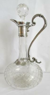 Beautiful Antique Star Cut Glass & Silver Plate Decanter Claret Jug  Swan Neck