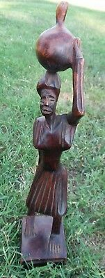 Vintage Hand Carved Hard Wood African Tribal Art Statue Woman  Basket On Head