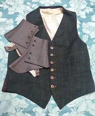 YOU DIRTY RAT *1930s Deadstock VTG 1930s GENTLEMEN'S SPATS w/ ABALONE BUTTONS