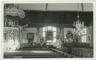 Black & White Postcard of Interior of Church in Tornio