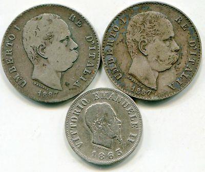 Italy lot of (3) silver coins   lotsep2966