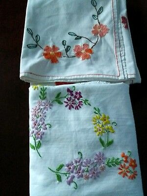 2 Vintage Hand Embroidered Cotton Tablecloths~Pretty Floral Work~Tea Party~Vgc~