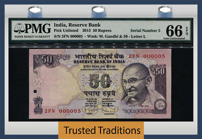 Tt Pk Unl 2013 India 50 Rupees Gandhi Exotic S/n #000005 Pmg 66 Epq Gem 5 Of 10!