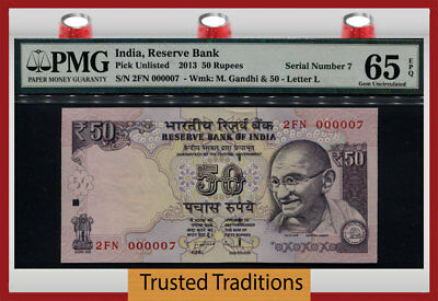 Tt Pk Unl 2013 India 50 Rupees Gandhi Exotic S/n #000007 Pmg 65 Epq Gem 7 Of 10!