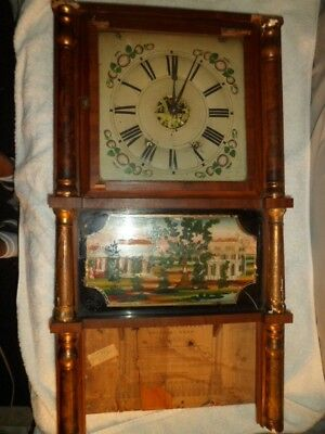 Antique Clock Elisha Manross Hand Painted Weight Driven 8 Day 1845 READ Abt Shpg