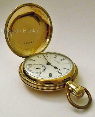 Antique Victorian Waltham Gold Plate Pictorial Case Full Hunter Fob Pocket Watch
