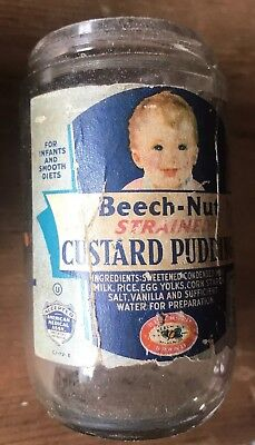 Vintage Beech-Nut Custard Pudding Baby Food Jar Without Lid