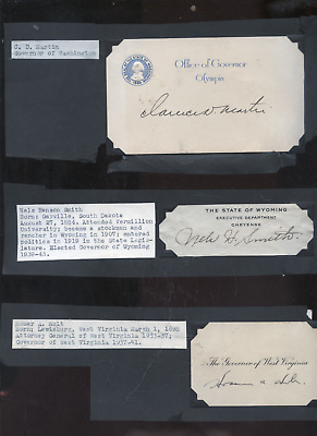 lot of 5 old state governor autographs, WI,VA, WA, WY, WV