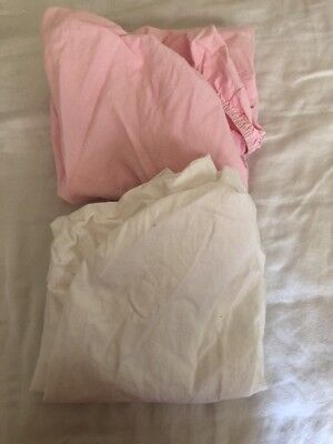 2 Bassinet sheets for Baby / Infant Fitted Pink/white EUC