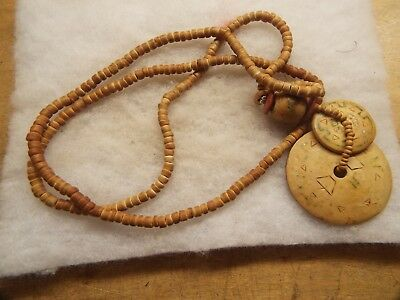 Old Aztec  Neck Piece  Carved Bone Or Shell,nice Aztec Design