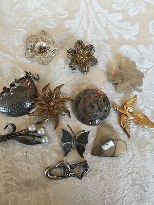 VTG Sterling Silver Lot of 11 Pins Flower Butterfly Mexico NOT SCRAP lot 8.1567