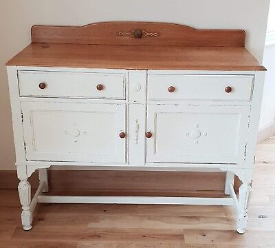 Antique Edwardian Sideboard Oak Painted Shabby Chic Very Pretty