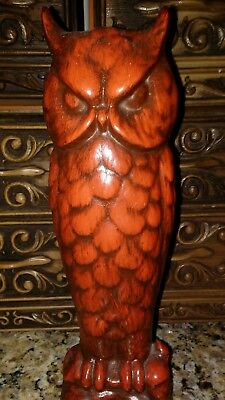 "Vintage Takahashi 9"" MOD 1960s Owl Ceramic Figurine  Bird Statue Rust Red Brown"