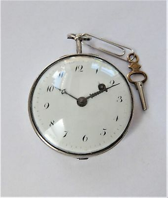 1840's Silver Cased Verge Fusee Pocket Watch Working