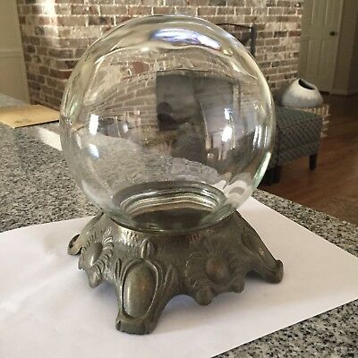 Vintage glass BOWL-O-BEAUTY REAL ROSES Crystal Ball Container Halloween