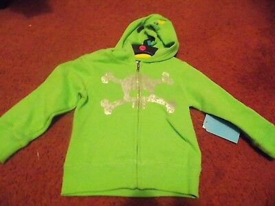Mission bay--- boys size 3t--lime green zip hoodie/  skelton--nwt