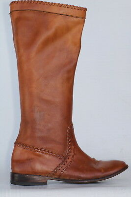 Frye 77875 Paige Huarache British Tan Leather Riding Boots 7.5 B Brand New Heels