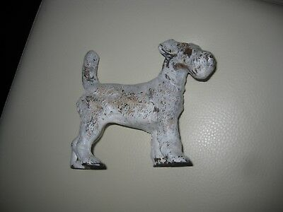 """Antique Hubley Cast Iron Wired Haired Fox Terrier Dog Doorstop-Smaller 5"""" Size"""