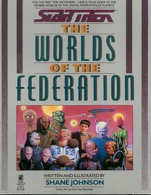 STAR TREK ~ THE WORLDS OF THE FEDERATION ~ by SHANE JOHNSON ~ PocketBooks 1989