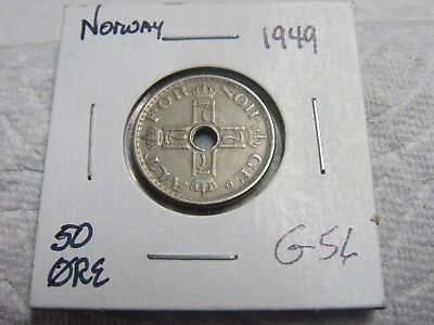 1949 Norway 50 Ore Higher Grade Collector Coin  #g 55