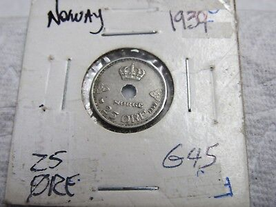1939 Norway 25 Ore Higher Grade Collector Coin  #g 45