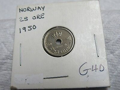 1950 Norway 25 Ore Higher Grade Collector Coin  #g 40
