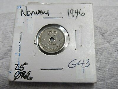 1946 Norway 25 Ore Higher Grade Collector Coin  #g 43