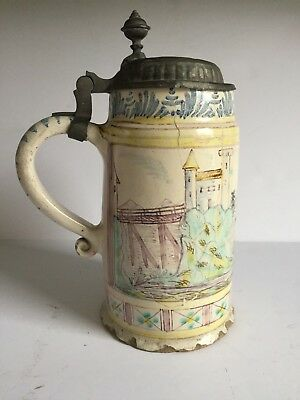 "Antique Hand Painted German Faience Pewter Lidded Stein Thuringia c1800 ""AS IS"""