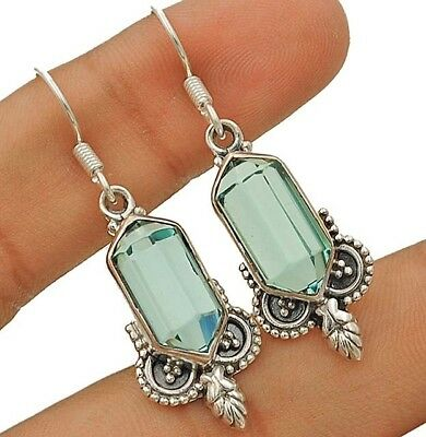 10CT Aquamarine 925 Solid Sterling Silver Earrings Jewelry 1 2/3'' Long