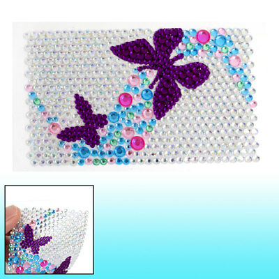 """Mobile Phone Purple Faux Crystal Accent Butterfly Jewelry Seal Sticker 3.5"""" x 2"""""""