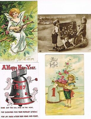 Lot of 32 ANTIQUE EARLY 1900s HOLIDAY Postcards    * HAPPY NEW YEAR *