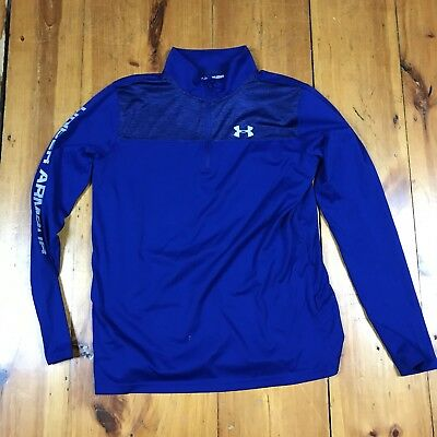 Under Armour Boys Youth Athletic Zip Long Sleeve T-shirt XL Blue