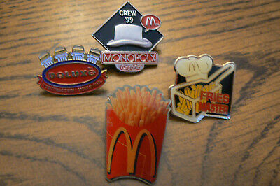 Lot of 4 McDonald's Pins Monopoly CocaCola '99 Fries Master Deluxe  FREE US SHIP