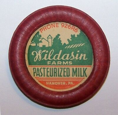 Wildasin Farms Dairy Hanover PA Milk Bottle Cap York County Pennsylvania Penn 02