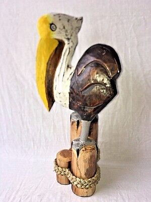 "18"" Pelican On Piling Hand Carved Wood Tropical Sculpture Bird Decor"
