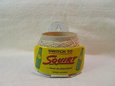 Switch To Squirt Soda Small Porcelain Advertising String Twine Holder Promo Sign