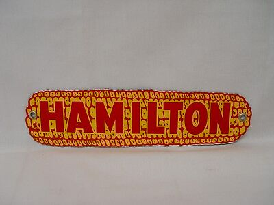 Hamilton Hybrids Corn Seed Feed Diecut Porcelain Advertising Farm Marker Sign