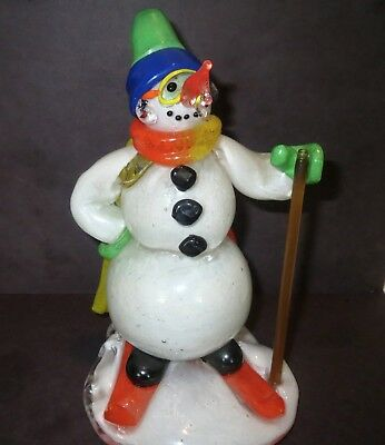 Signed Studio Art Glass FIGURINE - VENETIAN EUROPEAN - ICYCLE NOSE SNOWMAN