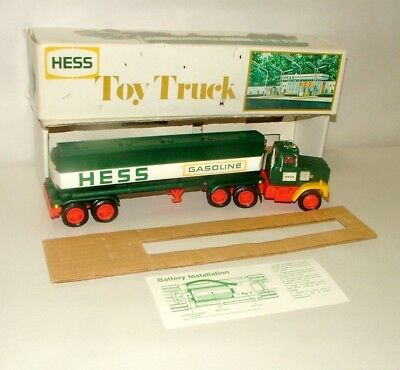 "% 1970's  Battery Operated Hess Gasoline Tanker Truck 13 1/2"" In Box Lot-2"