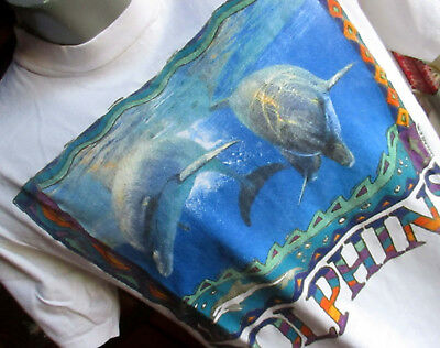 LARGE True Vtg 90s EARTHWATCH DOLPHIN LAURA PIKE GRAPHIC ALL COTTON T-shirt USA