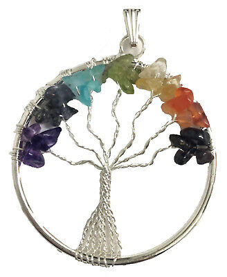 Silver Plated Seven Chakra Tree of Life Pendant with Gemstone Chips