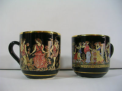 Pair 2 Takis Hellas Greek Porcelain 24K Gold Hand Made Cobalt Blue Mugs Greece