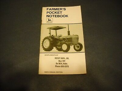 Farmers Pocket Notebook John Deere Heist Implement DeWitt Nebraska